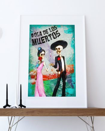 Dia De Los Muertos Mexican La Catrina El Catrin Illustration Art Print Vintage Giclee on Cotton Canvas and Paper Canvas Poster Wall Decor