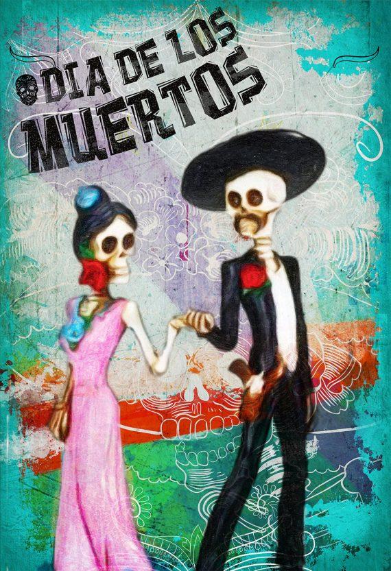 Dia De Los Muertos Mexican La Catrina El Catrin Illustration Art Print Vintage Giclee on Cotton Canvas and Paper Canvas Poster Wall Decor