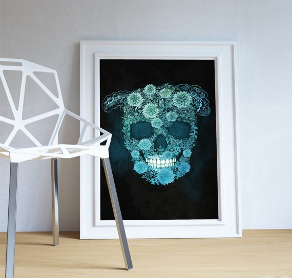 Dia De Los Muertos Mexican Retro Abstract Sugar Skull Illustration Art Print Vintage Giclee on Cotton Canvas and Paper Canvas Poster