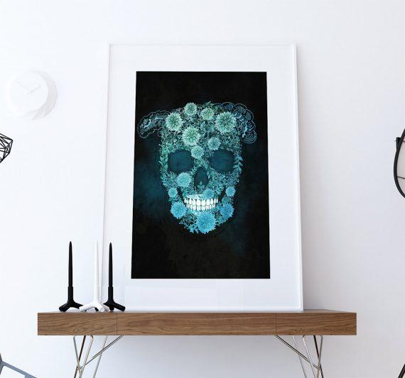 Dia De Los Muertos Mexican Retro Abstract Sugar Skull Illustration Art Print Vintage Giclee on Cotton Canvas and Satin Photo Paper