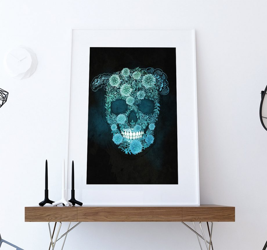 Dia De Los Muertos Mexican Retro Abstract Sugar Skull Illustration Art Print Vintage Giclee on Cotton Canvas and Satin Photo Paper