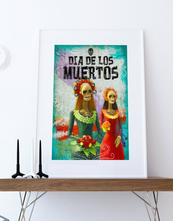 Dia De Los Muertos Mexican Retro Catrina Illustration Art Print Vintage Giclee on Cotton Canvas and Satin Photo Paper