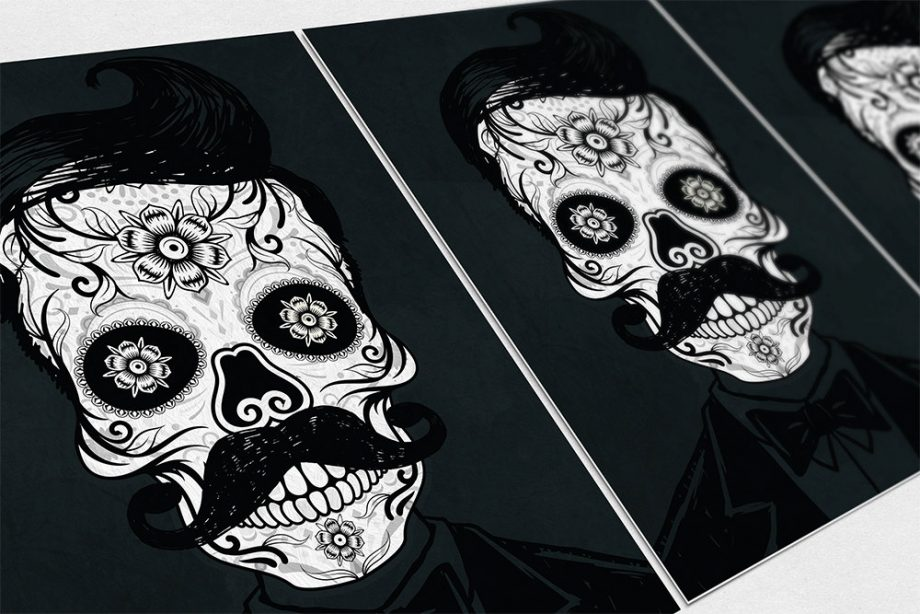 Dia De Los Muertos Mexican Retro Hipster Sugar Skull Illustration Art Print Vintage Giclee on Cotton Canvas and Paper Canvas Poster