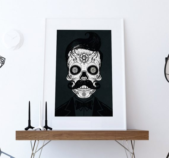 Dia De Los Muertos Mexican Retro Hipster Sugar Skull Illustration Art Print Vintage Giclee on Cotton Canvas and Satin Photo Paper