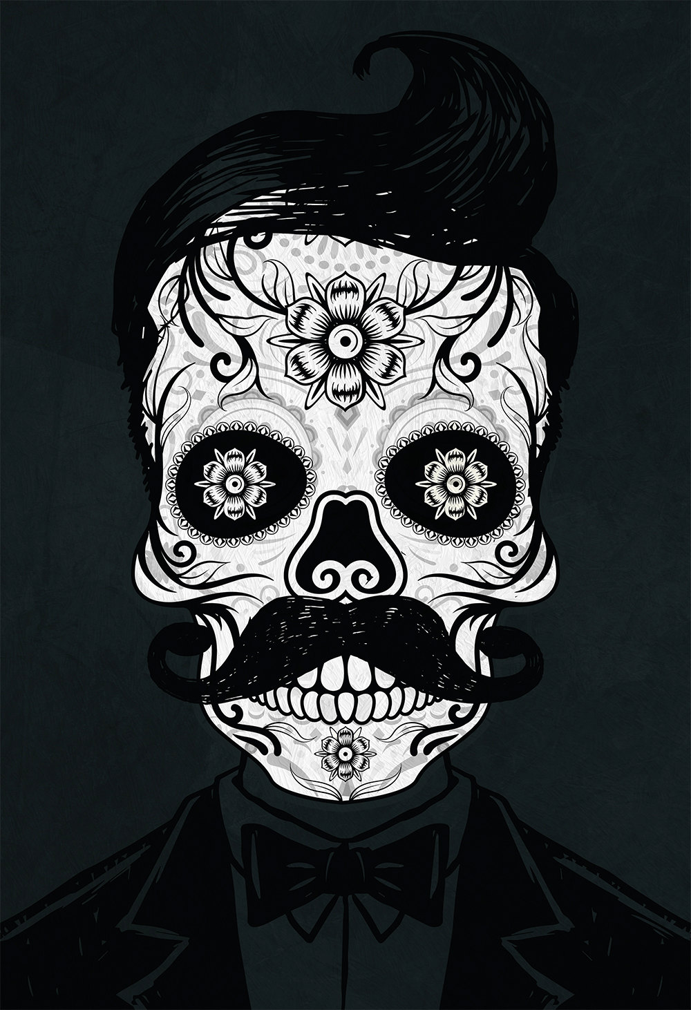 dia de los muertos mexican retro hipster sugar skull illustration