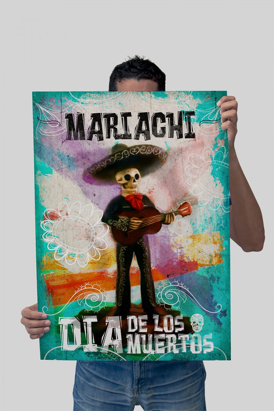 Dia De Los Muertos Mexican Retro Mariachi Skeleton Illustration Art Print Vintage Giclee on Cotton Canvas and Paper Canvas Poster Wall Decor