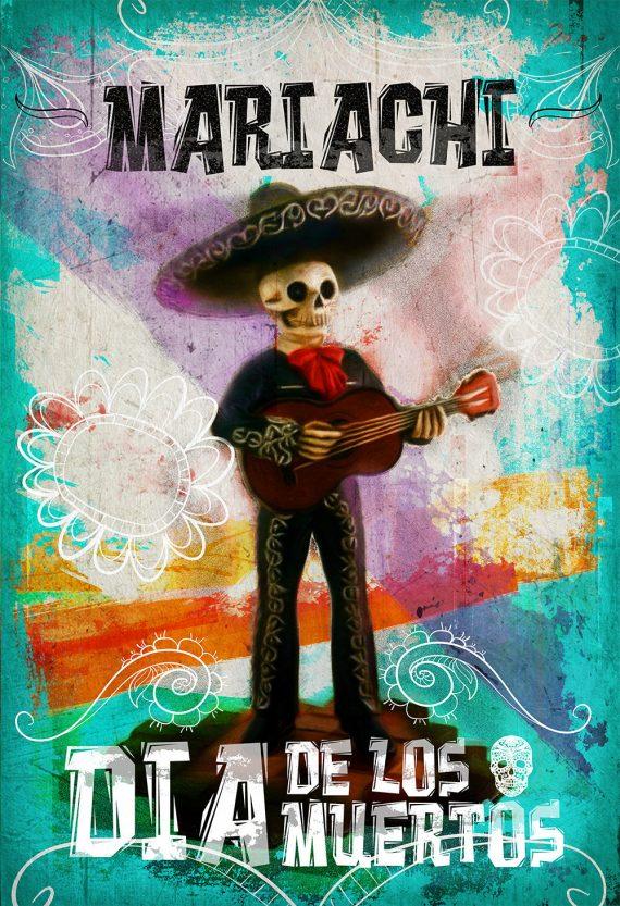 Dia De Los Muertos Mexican Retro Mariachi Skeleton Illustration Art Print Vintage Giclee on Cotton Canvas and Paper Canvas Poster Wall Decor