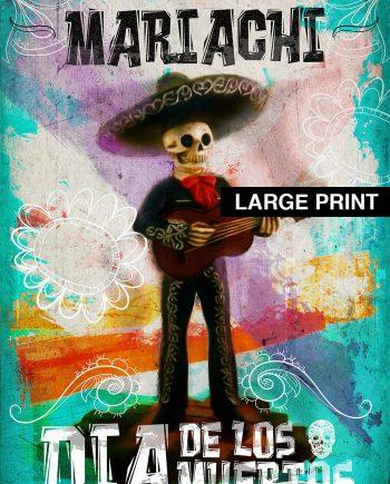 Dia De Los Muertos Mexican Retro Mariachi Skeleton Illustration Art Print Vintage Giclee on Cotton Canvas and Satin Photo Paper