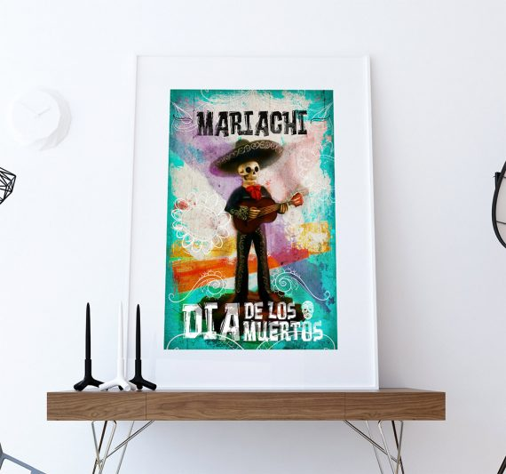 Dia De Los Muertos Mexican Retro Mariachi Skeleton Illustration Art Print Vintage Giclee on Cotton Canvas and Satin Photo Paper