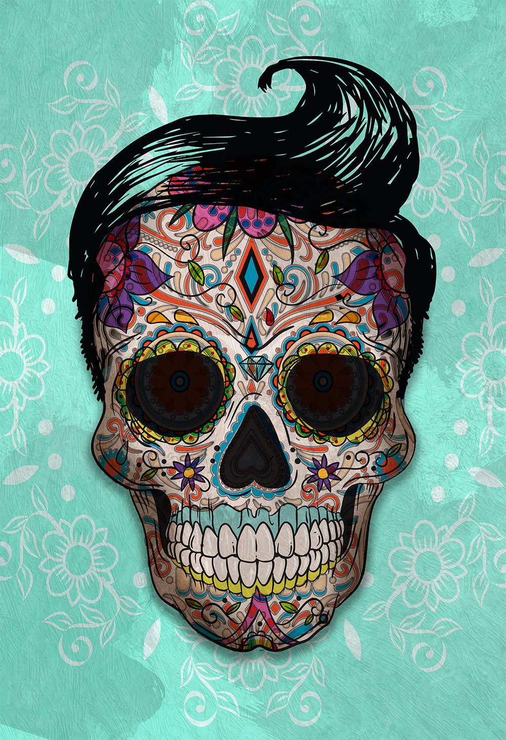 Dia De Los Muertos Mexican Retro Sugar Skull Illustration ...