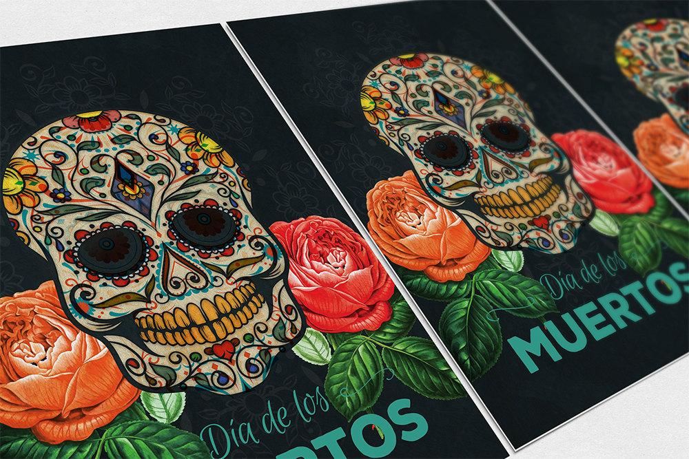 Dia De Los Muertos Mexican Retro Sugar Skull Illustration Art Print ...