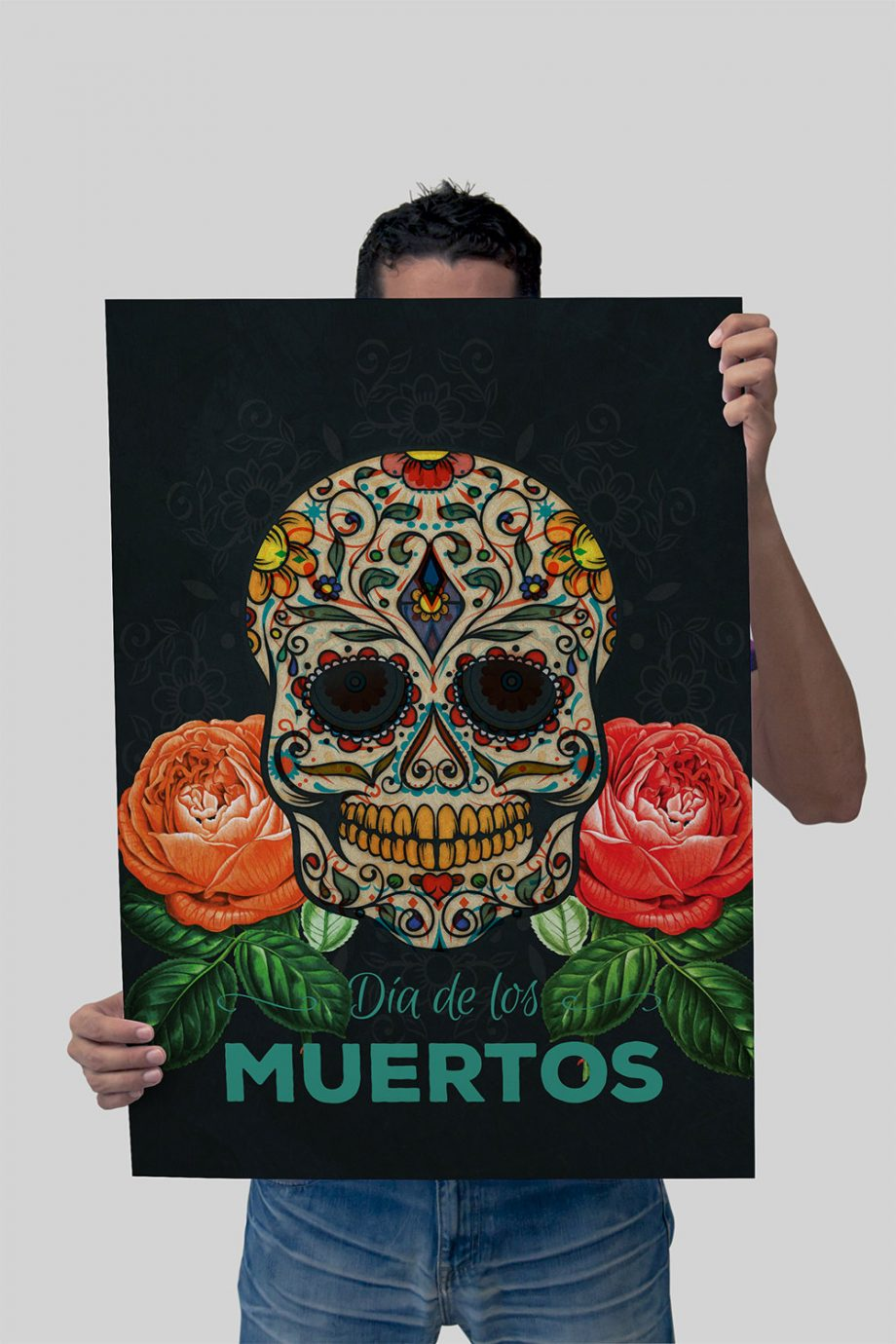 Dia De Los Muertos Mexican Retro Sugar Skull Illustration Art Print Vintage Giclee on Cotton Canvas and Paper Canvas Poster Wall Decor