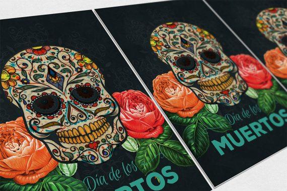 Dia De Los Muertos Mexican Retro Sugar Skull Illustration Art Print Vintage Giclee on Cotton Canvas and Satin Photo Paper