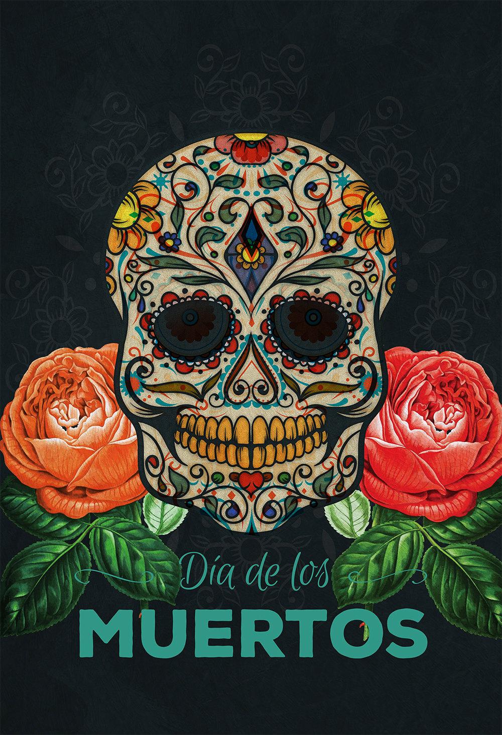 dia de los muertos mexican retro sugar skull illustration art print