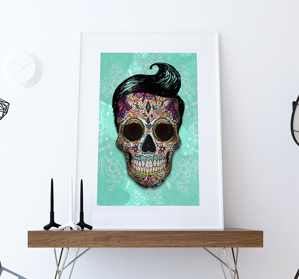 Dia De Los Muertos Mexican Retro Sugar Skull Illustration