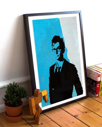 Doctor Who 10th Doctor David Tennant Poster Illustration Whovian Print Giclee on Paper Canvas Dr Who Geek Art