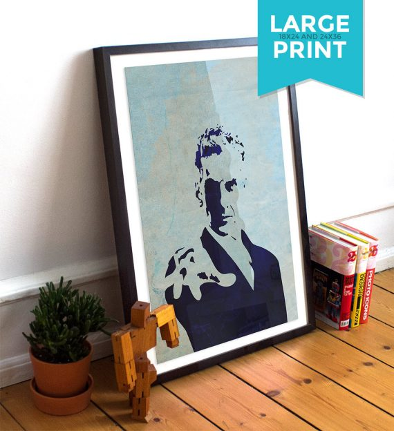 Doctor Who 12th Doctor Peter Capaldi Large Poster Illustration Whovian Print Giclee on Satin or Cotton Canvas Time Lord Dr Who