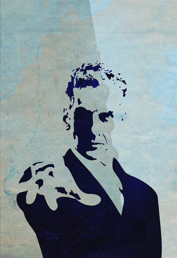 Doctor Who 12th Doctor Peter Capaldi Poster Illustration Whovian Print Giclee on (NEW) Cotton Canvas or Paper Canvas Time Lord Dr Who