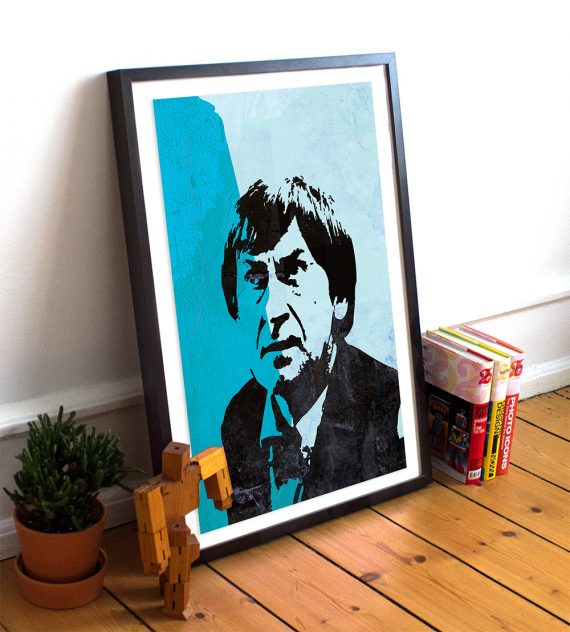 Doctor Who 2nd Doctor Patrick Troughton Illustration Print Giclee on Cotton Canvas and Paper Canvas Sci Fi Pop Art Poster Vintage Dr Who
