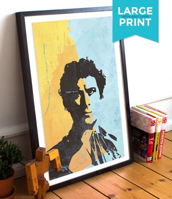 Doctor Who 6th Doctor Colin Baker Illustration Geekery Large Poster Print Giclee on Satin or Cotton Canvas Sci Fi Whovian Poster