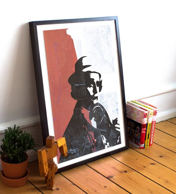 Doctor Who 7th Doctor Sylvester McCoy Sci Fi Illustration Geekery Print Giclee Cotton Canvas & Paper Canvas Retro Vintage Whovian Wall Art