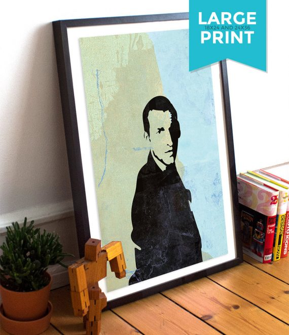 Doctor Who 9th Doctor Christopher Eccleston Large Poster Geekery Illustration Giclee Print on Satin or Cotton Canvas Geekery Whovian