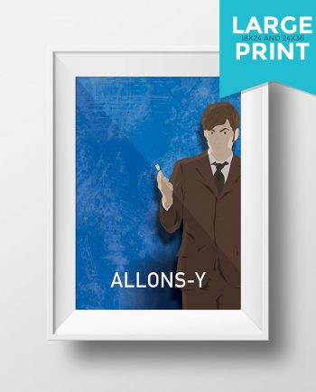 Doctor Who Allons-y David Tennant 10th Doctor Illustration Sci Fi Large Poster Print Giclee on Satin or Cotton Canvas Geekery Whovian