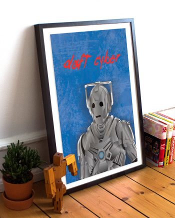 Doctor Who Cyberman Daft Punk Mashup Music Poster Illustration Giclee Print on Cotton Canvas and Paper Canvas Geekery Pop Art Sci Fi Whovian