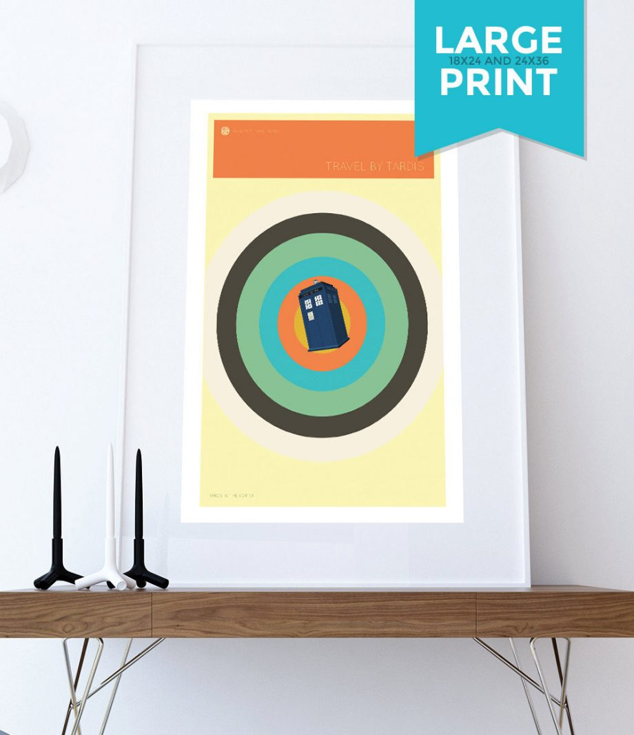 Doctor Who TARDIS Minimalist Print Giclee on Satin or Cotton Canvas Whovian Geekery Art Large Poster
