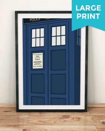 Doctor Who TARDIS Poster Police Box Illustration Geekery Large Poster Print Giclee on Satin or Cotton Canvas Time Lord