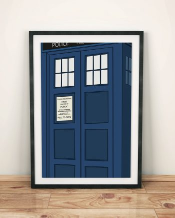 Doctor Who TARDIS Poster Police Box Illustration Geekery Print Giclee on Cotton Canvas or Paper Canvas Time Lord
