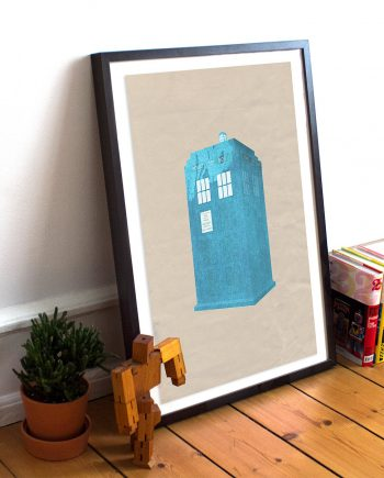 Doctor Who TARDIS Poster Time Lord Police Box Illustration Whovian Print Sci Fi Giclee on Cotton Canvas and Paper Canvas Geekery