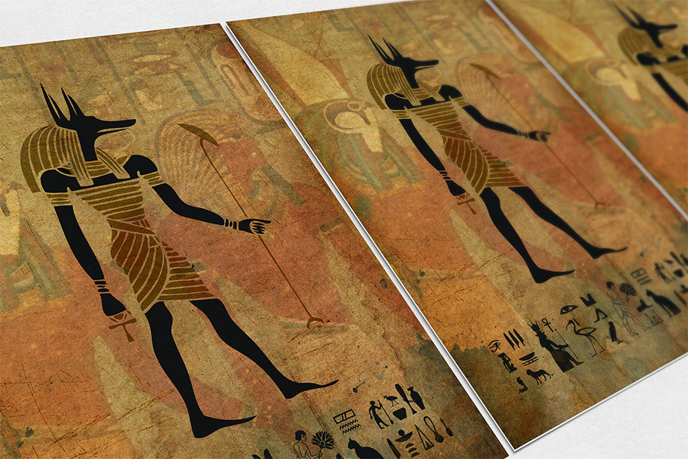 Amazing Egyptian Anubis Print Vintage Ancient Egypt Decor Ocean