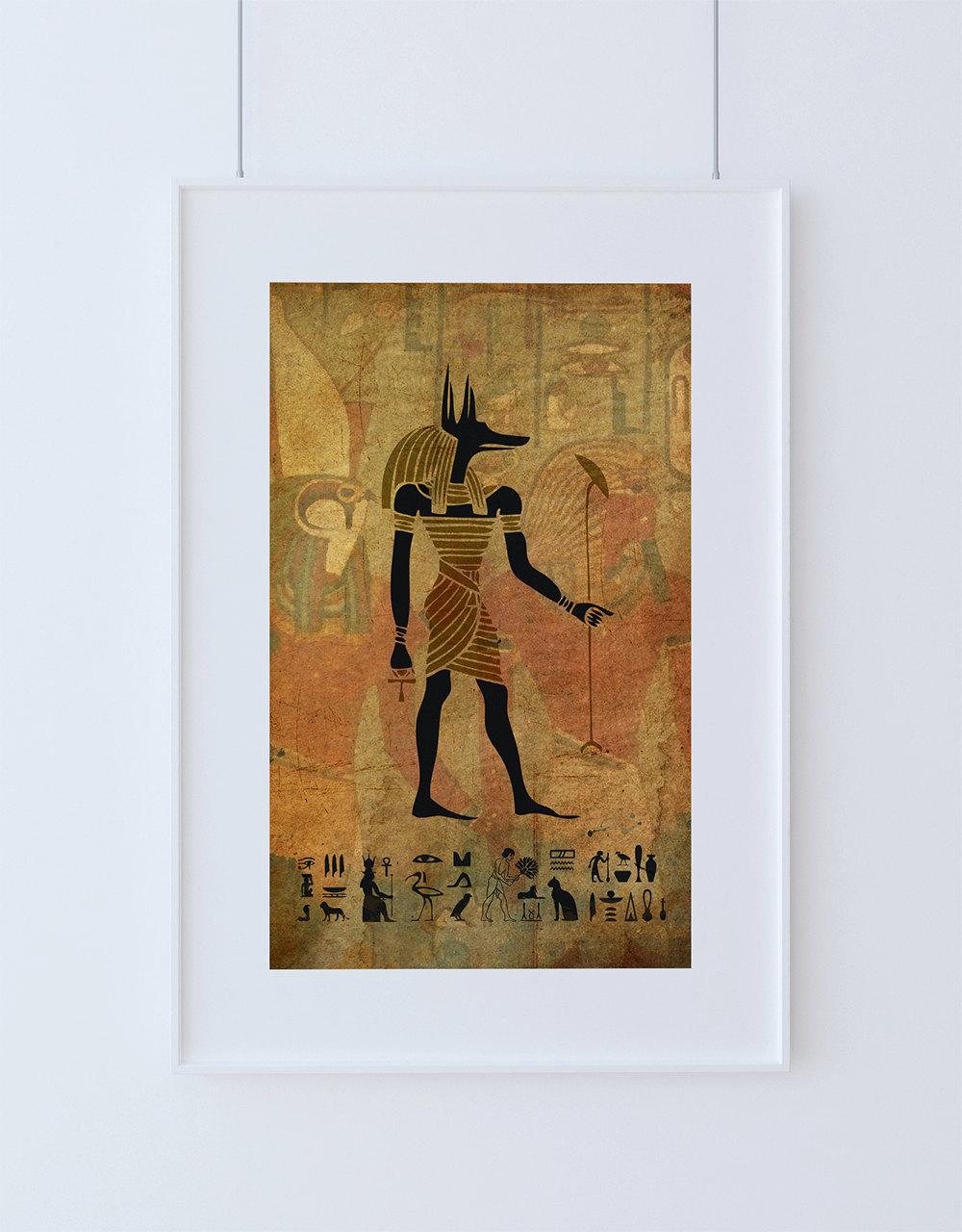 Egyptian Anubis Print Vintage Ancient Egypt Decor Ocean ...