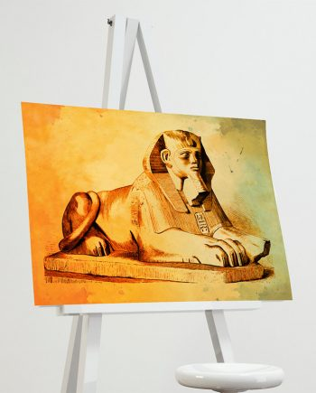 Egyptian Sphinx  Print Vintage Ancient Egypt Decor Ocean Wall Art - Giclee Print on Cotton Canvas and Paper Canvas