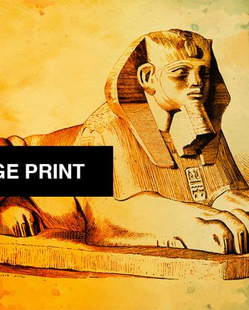 Egyptian Sphinx Print Vintage Ancient Egypt Decor Ocean Wall Art - Large Giclee Print on Canvas Cotton and Satin Photo Paper