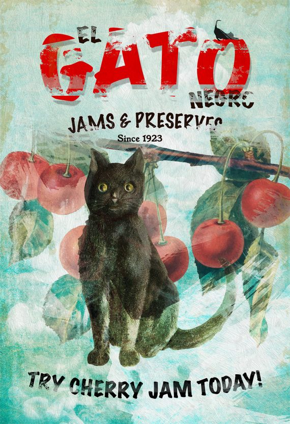 El Gato Negro Jams & Preserves Ad Original Illustration Vintage Style Giclee Print Cotton Canvas - Paper Canvas Cat Wall Art