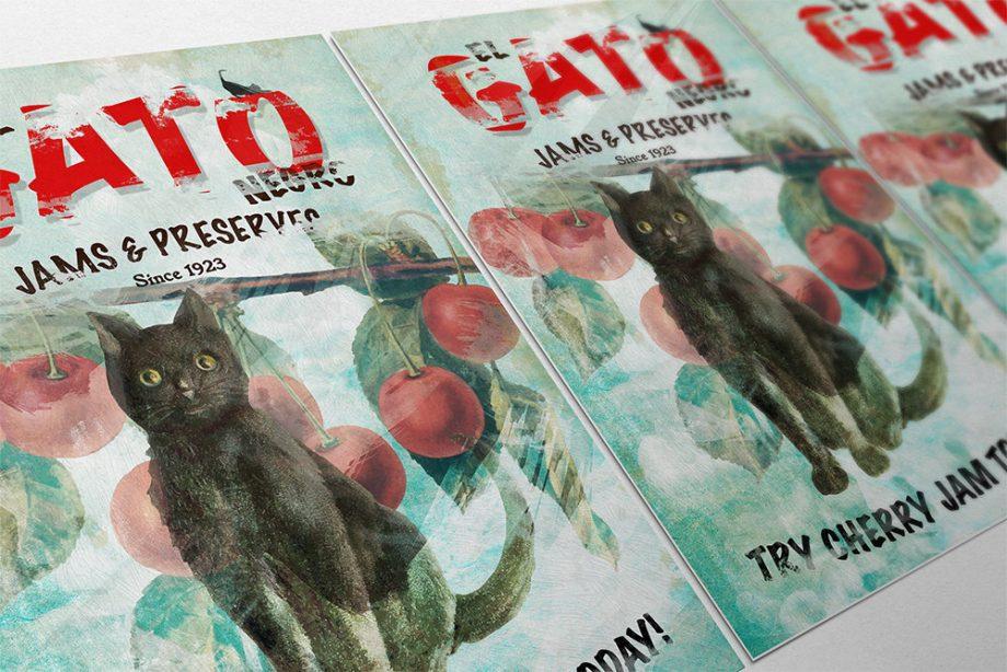El Gato Negro Jams & Preserves Ad Original Illustration Vintage Style Giclee Print on Cotton Canvas and Satin Photo Paper