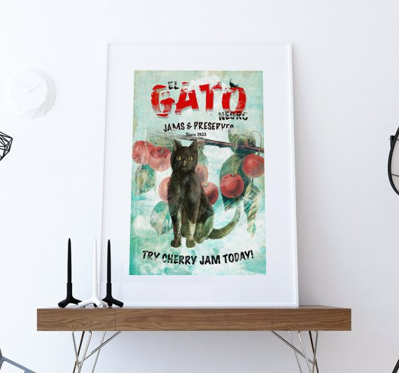 El Gato Negro Jams & Preserves Ad Original Illustration Vintage Style Giclee Print on Cotton Canvas and Satin Photo Paper