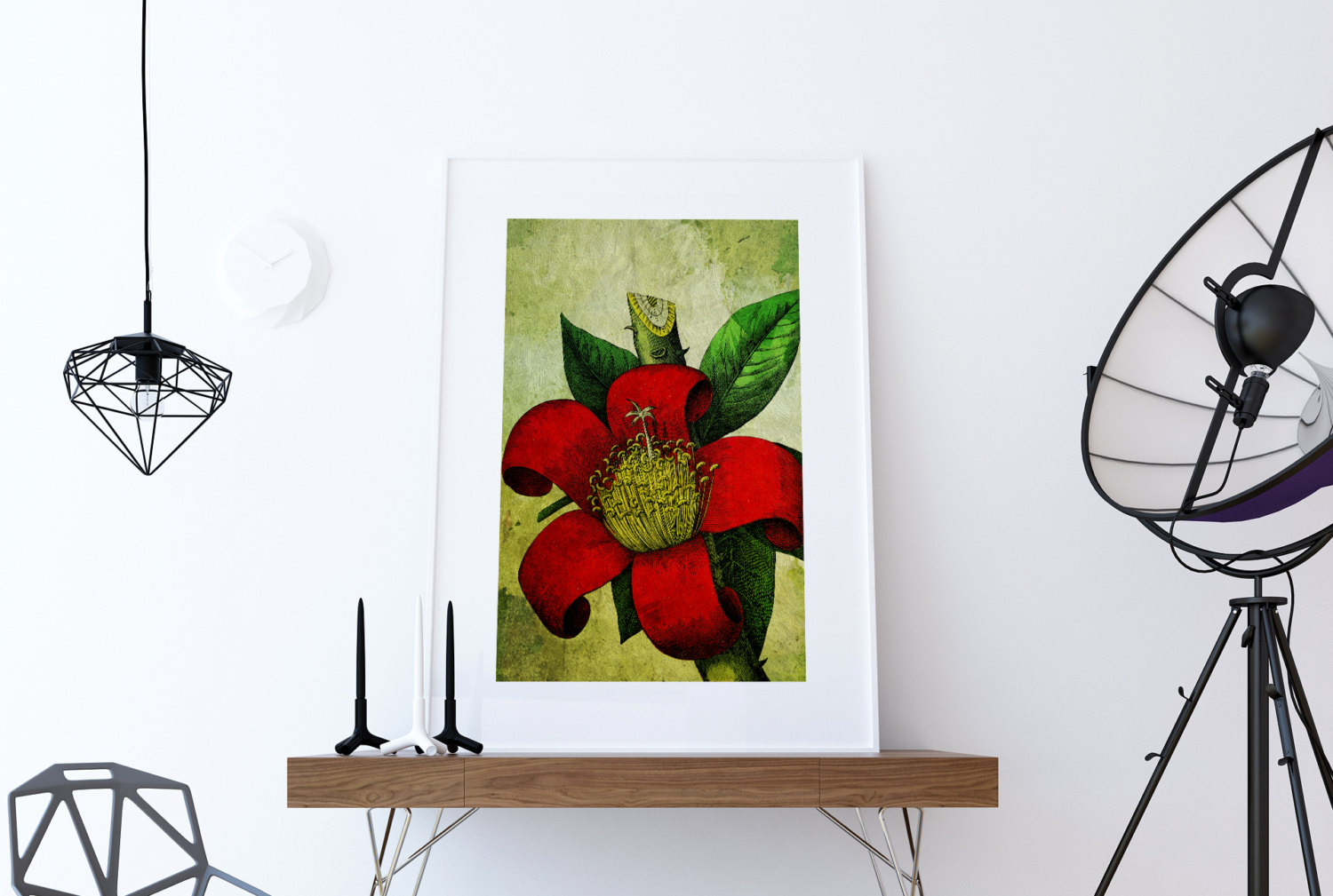 Floral Decor Red Tropical Art Gift Botanical Print