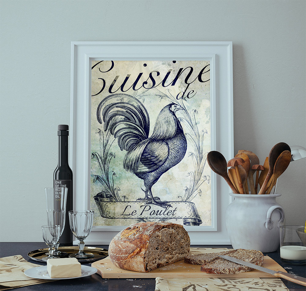French kitchen decor rooster art rustic farmhouse giclee for French kitchen artwork