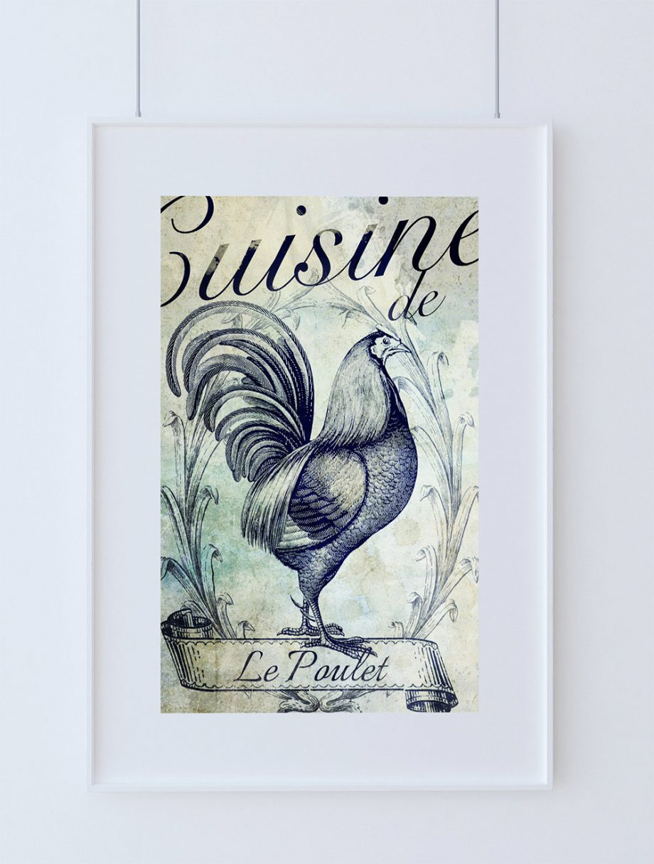 French Kitchen Decor Rooster Art Rustic Farmhouse Giclee Print on Cotton Canvas and Paper Canvas Poster Home Wall Art
