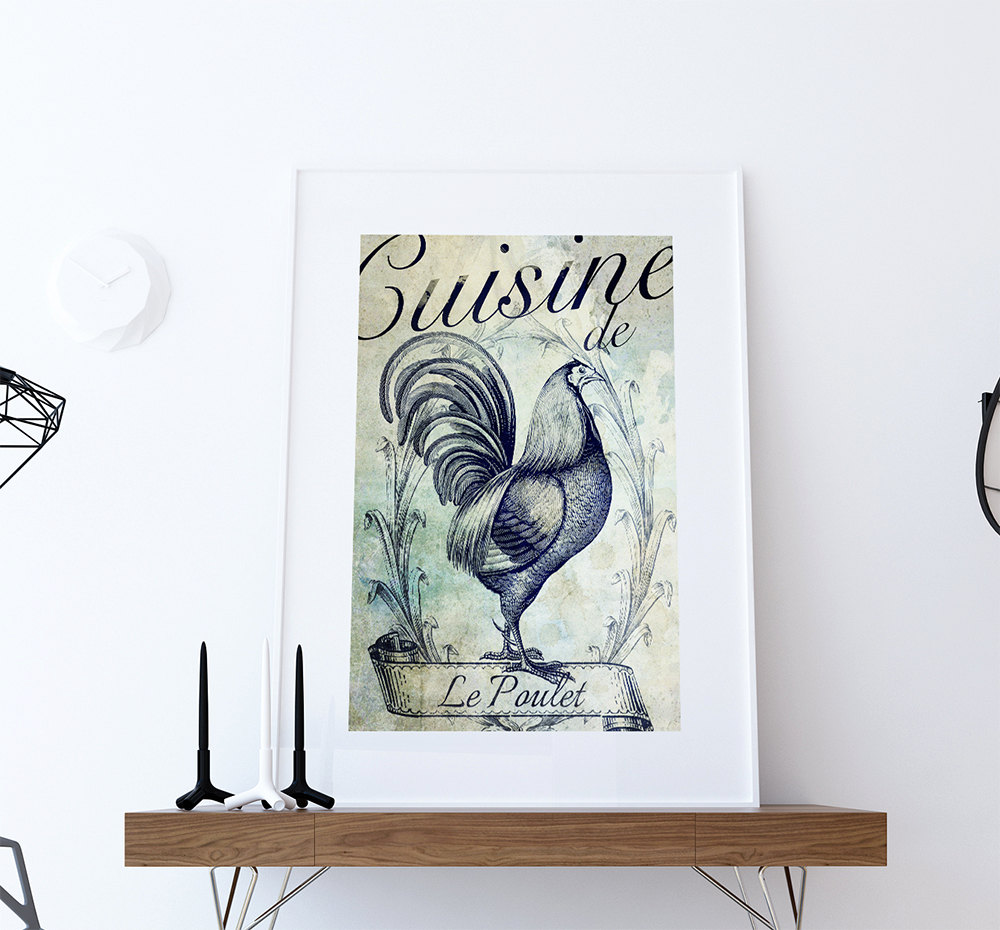 French Kitchen Decor Rooster Art Rustic Farmhouse Giclee Print on ...