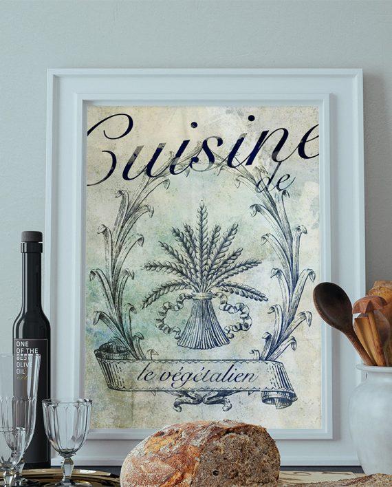 French Vegan Kitchen Decor Art Rustic Farmhouse Giclee