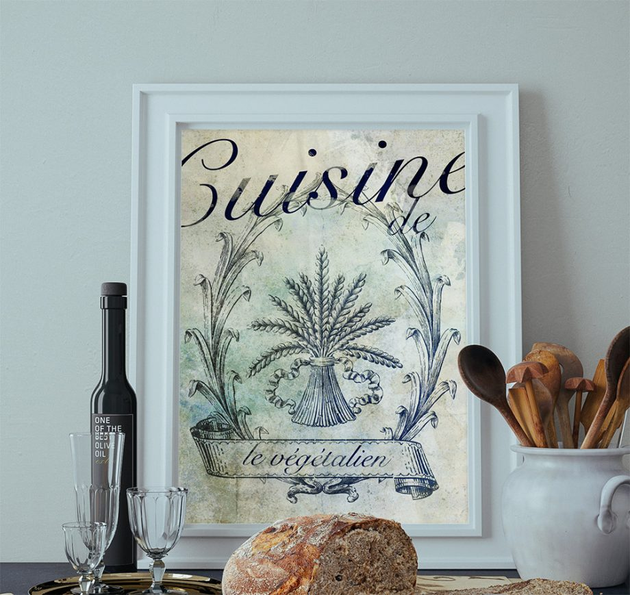 French Vegan Kitchen Decor Art Rustic Farmhouse Giclee Print on Cotton Canvas and Paper Canvas Poster Home Wall Art