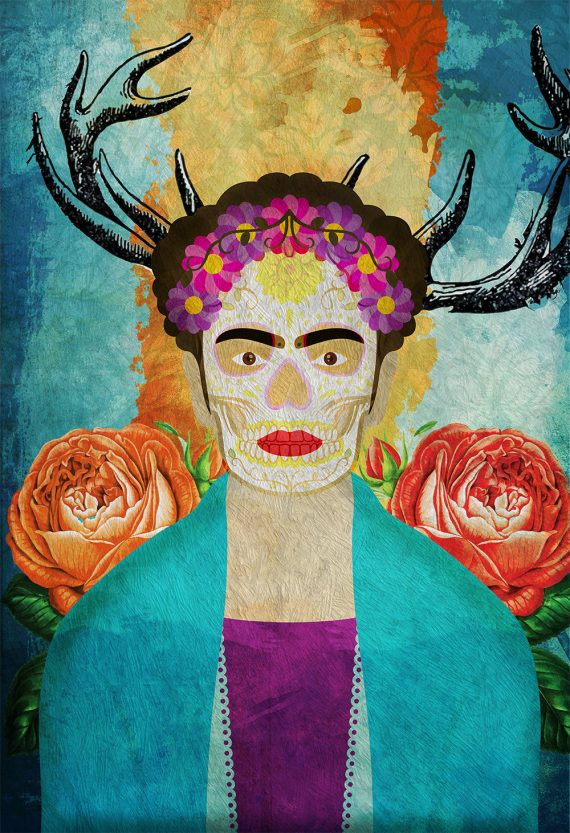 Frida Kahlo Poster Mexican Artist Portrait Red Scarf Folk Art Print Vintage - Large Giclee Wall Decor on Cotton Canvas and Satin Photo