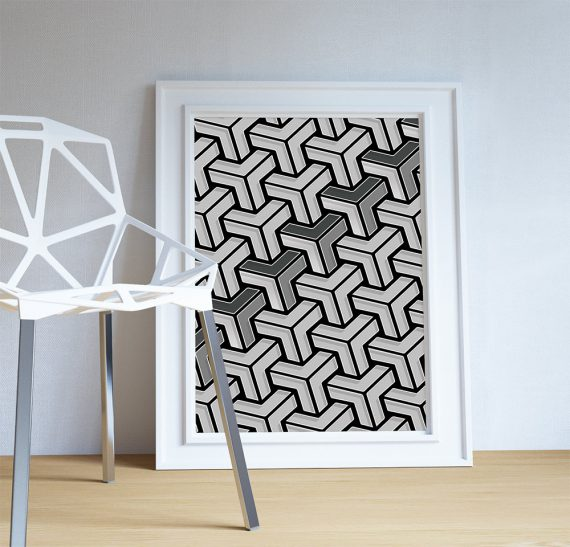 Geometric abstract art print Illustration Art Print Giclee on Cotton Canvas and Paper Canvas Poster Wall Decor