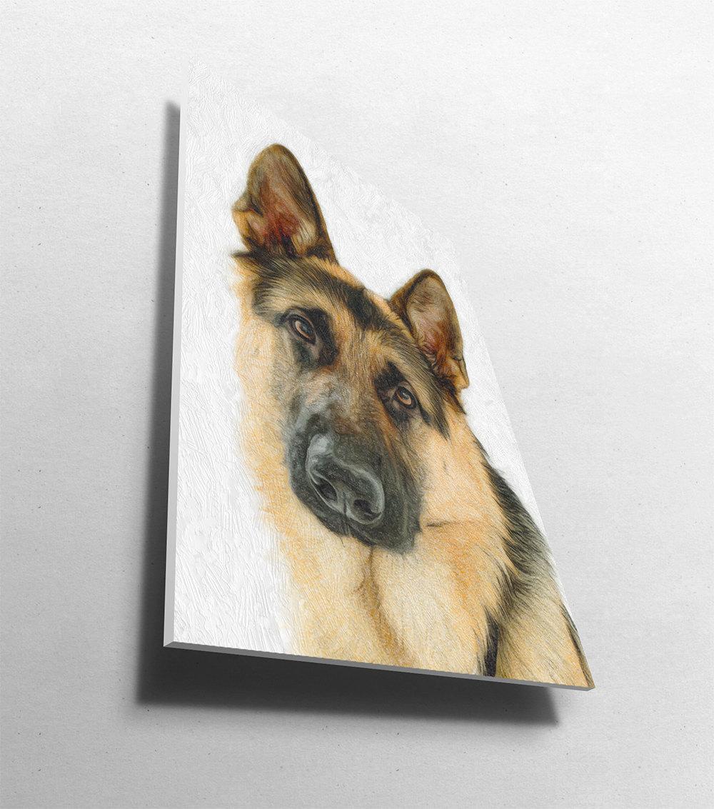 German Shepherd Dog Print illustration Art Print Poster Giclee on ...