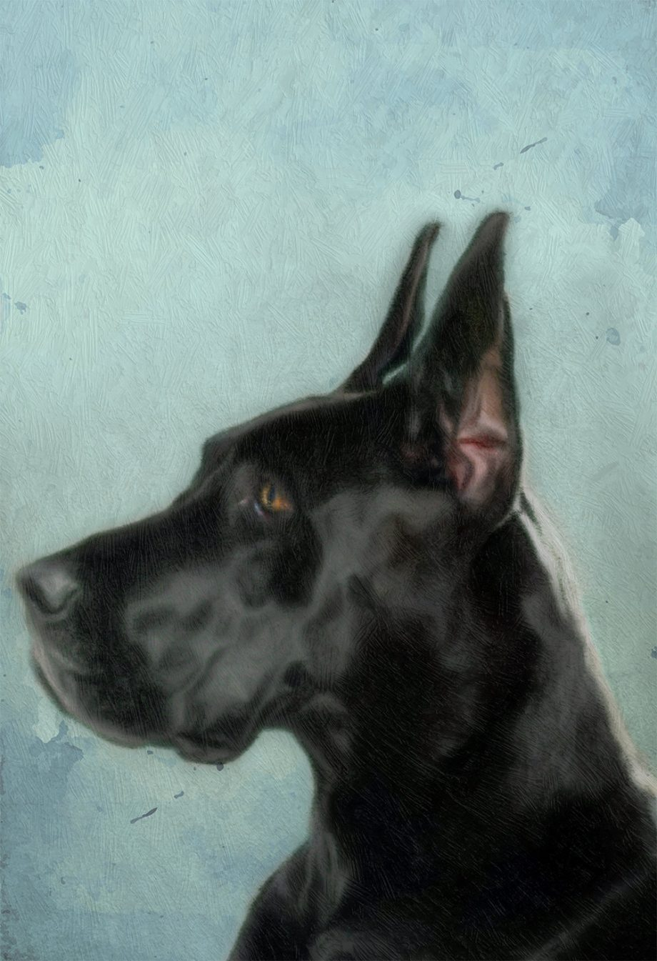 Great Dane Dog Print illustration Art Print Poster Giclee on Cotton Canvas and Satin Photo Paper