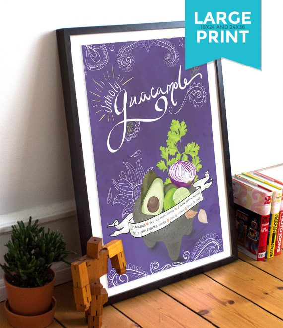 Guacamole Recipe Mexican Kitchen Print Day of the Dead Theme Poster Giclee on Satin or Cotton Canvas Large Poster Wall Decor